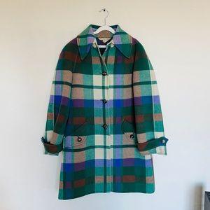 💯 Valentino 70s Vtg Wool Plaid Peacoat Jacket